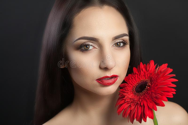 Woman Beauty Face. Closeup Beautiful Woman With Beauty Face Touching Her Soft Skin. Portrait Of A Smiling Young Woman With A stock images