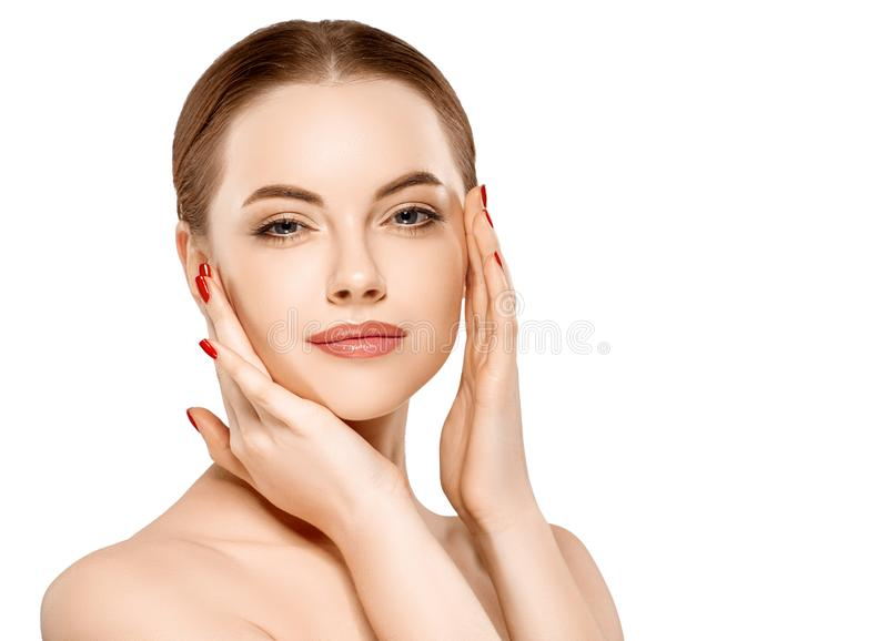 Woman beauty face portrait isolated on white with healthy skin. Studio shot royalty free stock photo