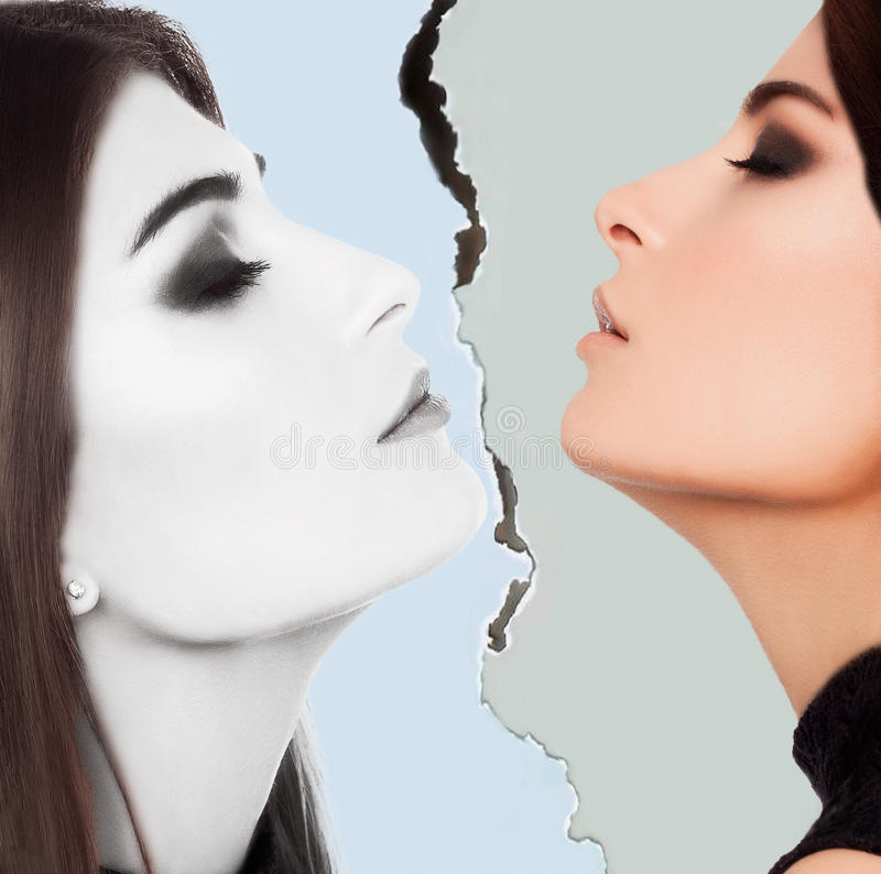 Woman beauty face in studio royalty free stock photography