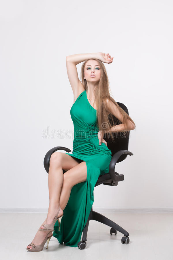 Woman in beauty fashion green dress stock image image of - Photo dressing ...