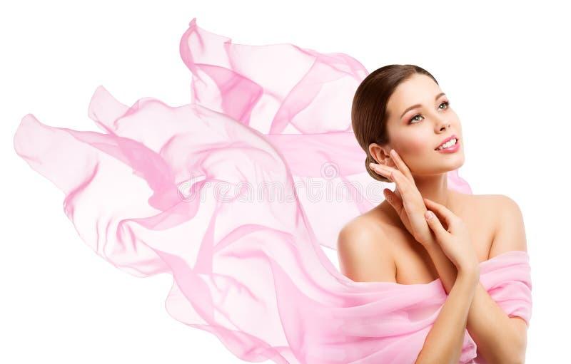 Woman Beauty, Happy Model Face Makeup, Girl looking away royalty free stock photos