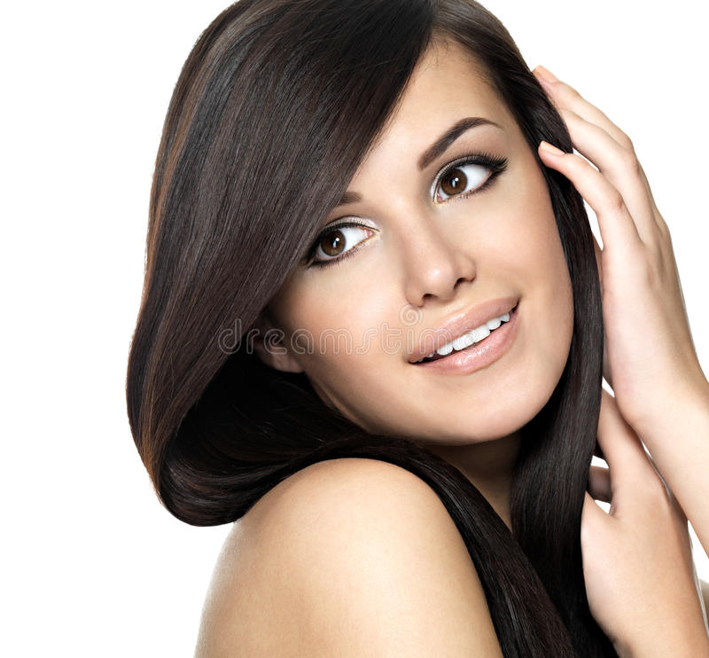 Woman with beauty long straight hair stock photography