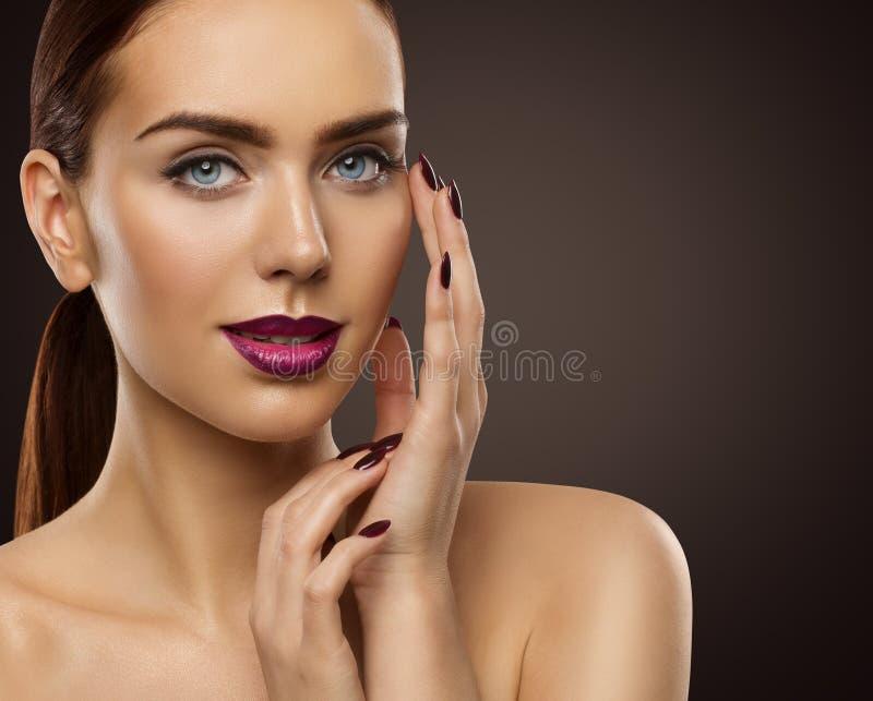Woman Beauty Makeup, Fashion Model Face Make Up, Eyes Lips Nails royalty free stock photography