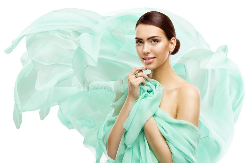 Woman Beauty Makeup Skin Care, Young Model in Fluttering Dress, White. Woman Beauty Makeup Skin Care, Young Model in Fluttering Dress Isolated over White royalty free stock photo