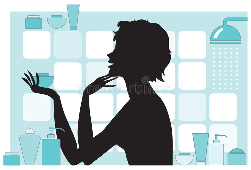 Download Woman with beauty products stock vector. Image of drawing - 11047703