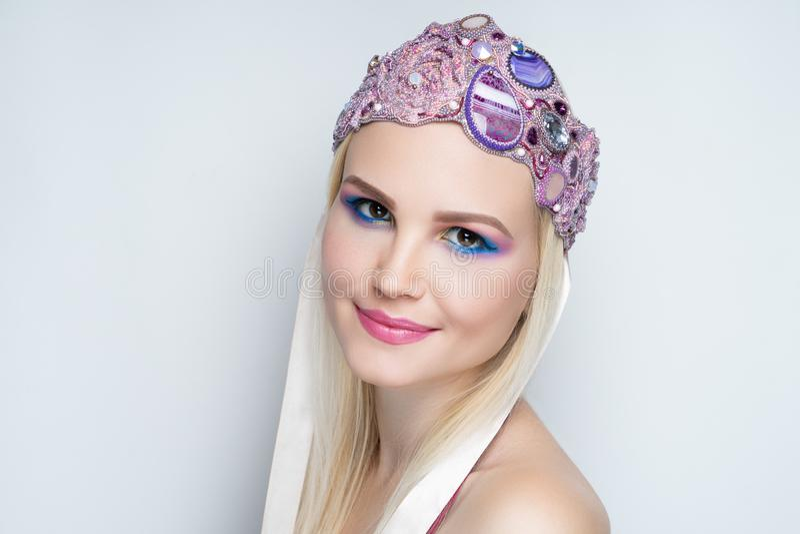 Woman blue pink make up royalty free stock photos