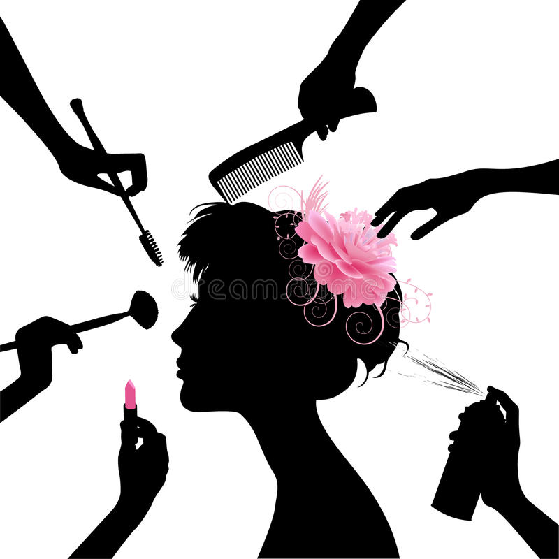 Woman in a beauty salon. Black silhouettes of beautiful woman in a beauty salon royalty free illustration