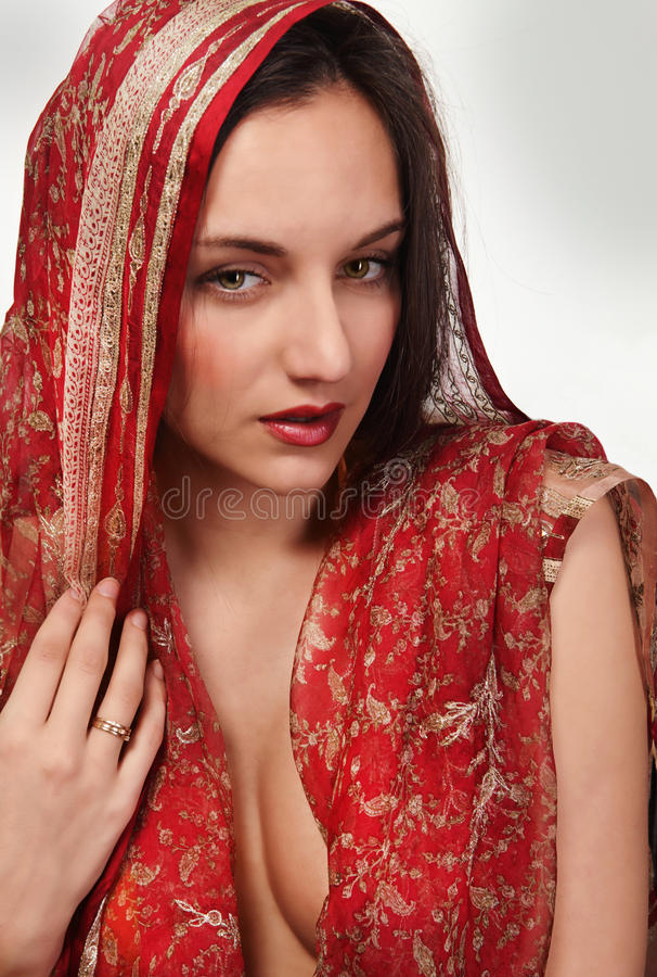 Woman beauty in silk stock photography
