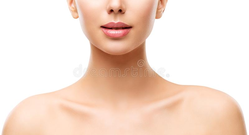 Woman Beauty Skin Care, Model Face Lips Neck and Shoulders on White. Woman Beauty Skin Care, Model Face Lips Neck and Shoulders Isolated over White Background royalty free stock photos