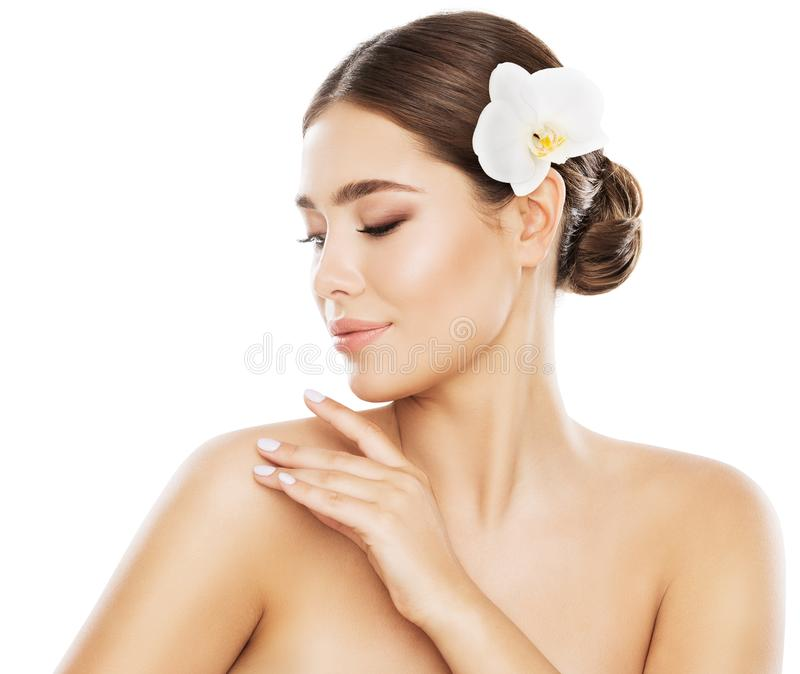 Woman Beauty Skin Care, Hand on Shoulder, Model White Isolated royalty free stock images