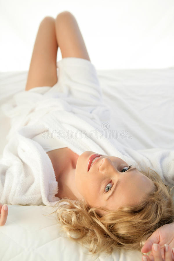 Download Woman on bed stock photo. Image of cheerful, lying, blonde - 11296808