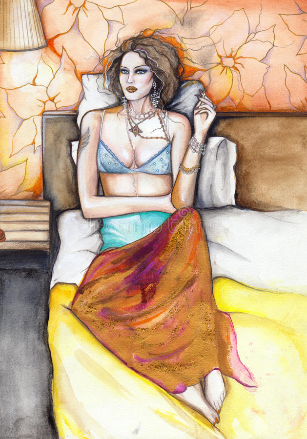 Download Woman In Bed Original Watercolor Painting Stock Illustration - Image: 16071845