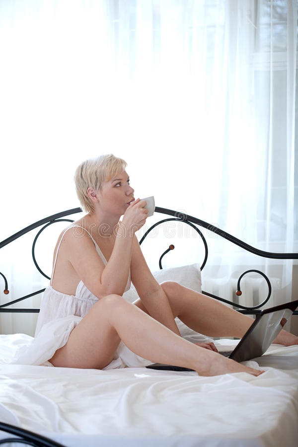 Download Woman in bedroom stock photo. Image of success, hair - 24545912