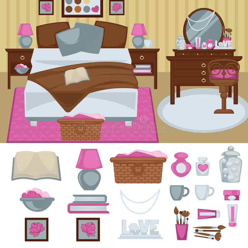 Woman bedroom interior with furniture. vector illustration