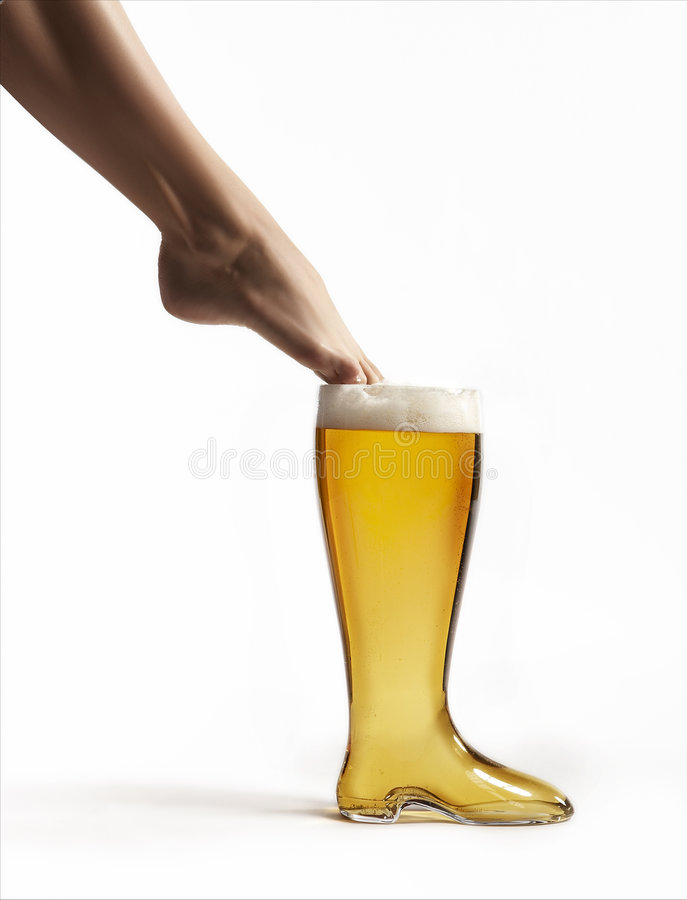 Woman with Beer glass boot royalty free stock photo