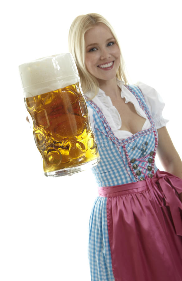 Woman with Beer Mug. Beatiful Blond Woman with Beer Mug royalty free stock photos
