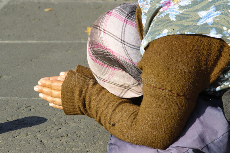 Woman beggar royalty free stock images