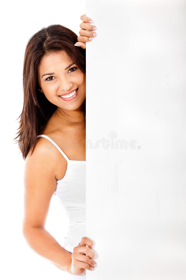 Download Woman behind a banner ad stock image. Image of gorgeous - 24425343