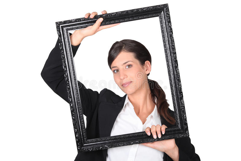 Download Woman Behind Black Frame Royalty Free Stock Photo - Image: 23793225