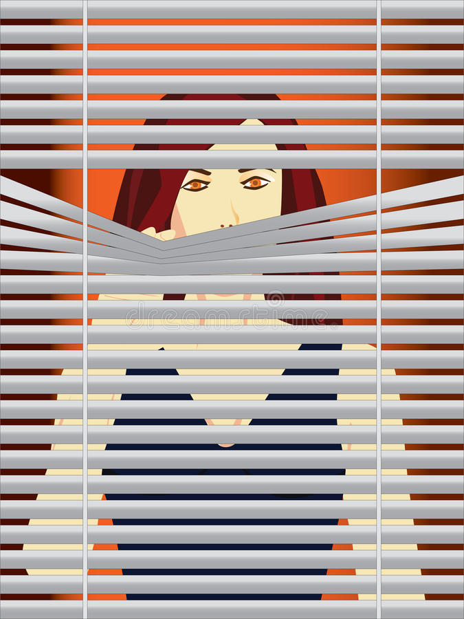 Woman behind blinds. Vector illustration of a woman behind blinds stock illustration