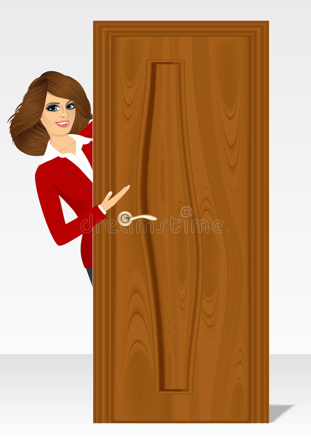 Woman behind the door stock illustration