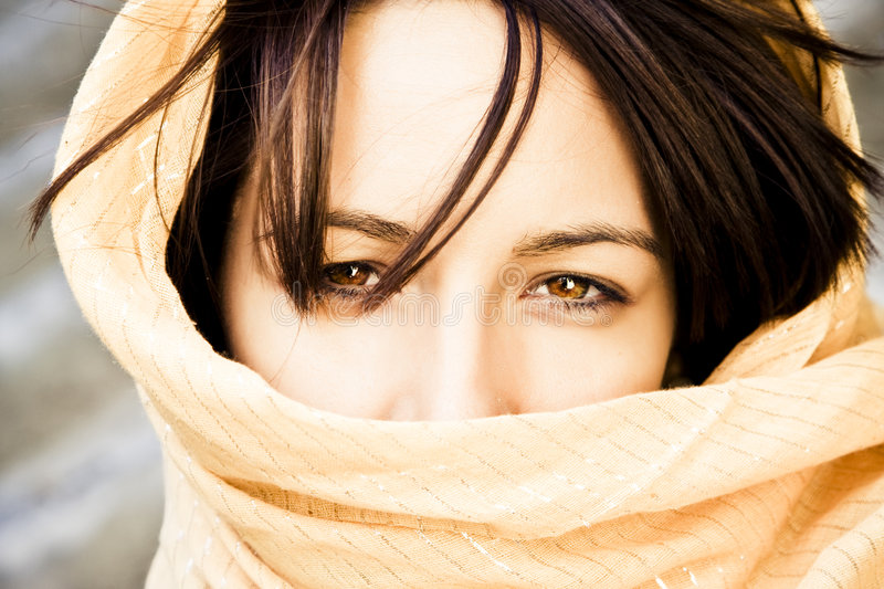 Woman behind veil royalty free stock images
