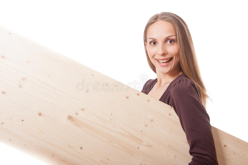 Woman behind a wooden board royalty free stock photo