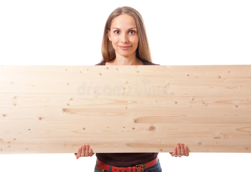 Woman behind a wooden board stock photo