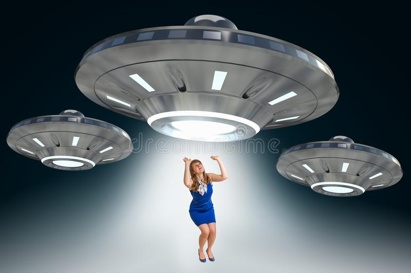 Woman being abducted by UFO - alien abduction concept stock illustration