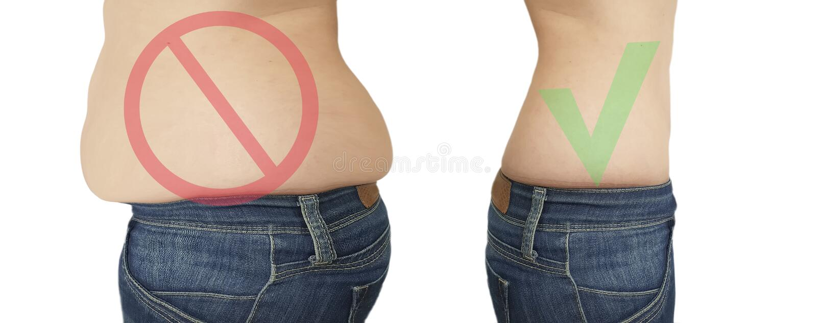 Woman belly slimming before  after retouching royalty free stock photography