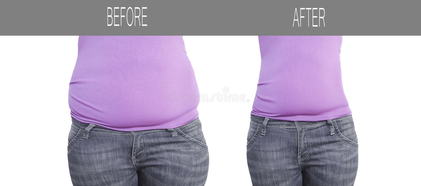 Woman belly before after weight loss,  shape sports healthy dieting royalty free stock photography