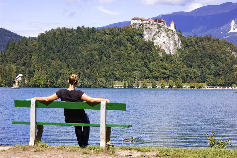 Download Woman On Bench, Enjoys Summer Day Stock Image - Image of alone, sitting: 18536217