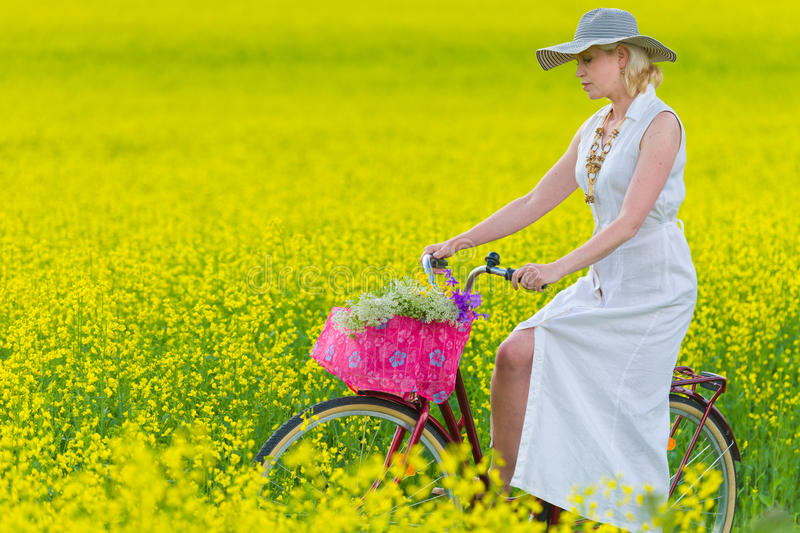 Download Woman and bicycle stock photo. Image of rural, nature - 25483552