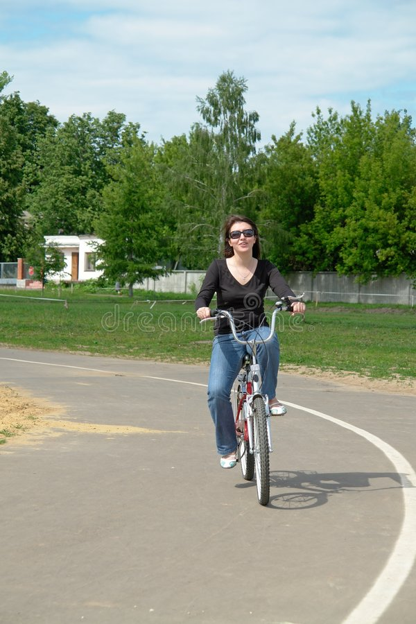 Download Woman on a bicycle stock image. Image of bicycle, pedal - 3487279