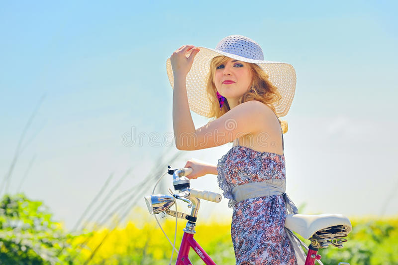 Download Woman on a bicycle stock photo. Image of chic, happiness - 29995240