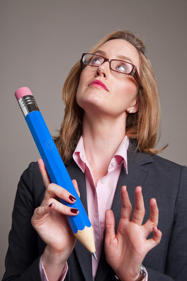 Download Woman With A Big Blue Pencil Stock Photo - Image: 10699644