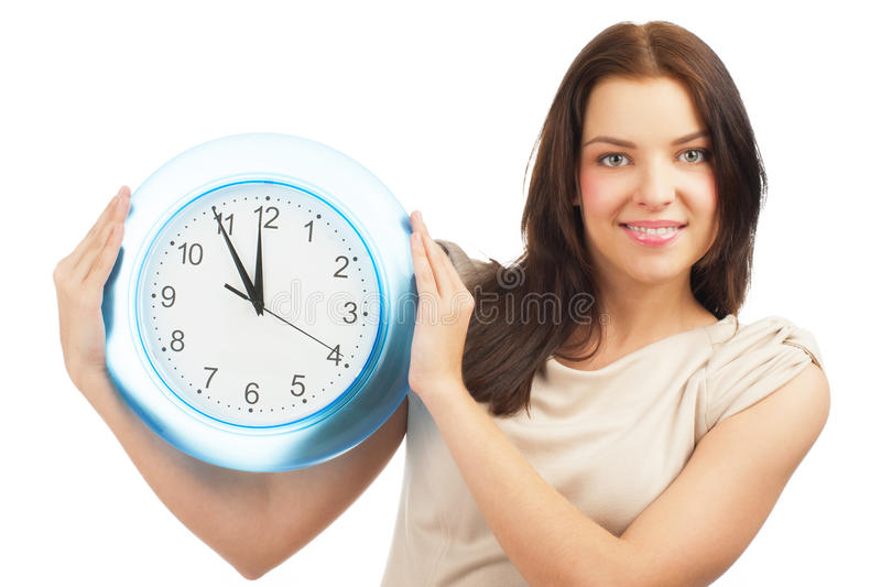 Woman with big clock stock images