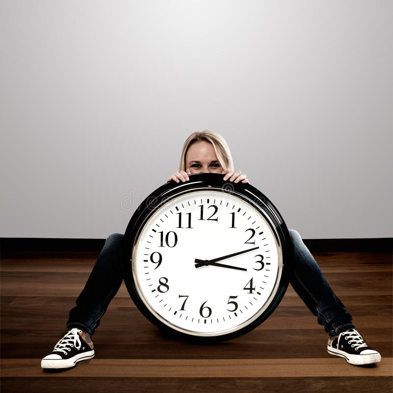 Download Woman With A Big Clock: Time Concept Stock Image - Image: 25652631