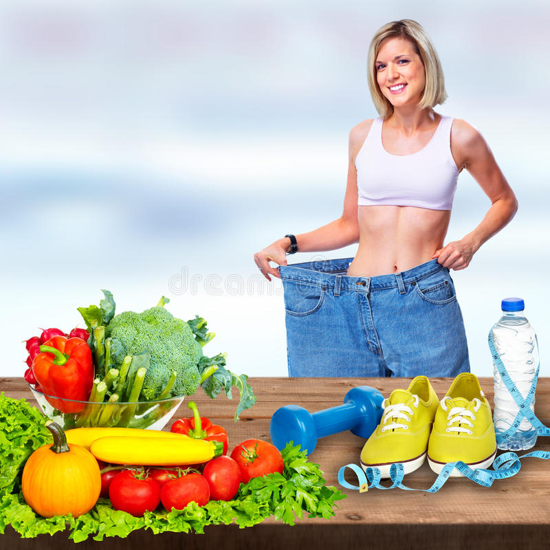 Woman with with big pants royalty free stock photography