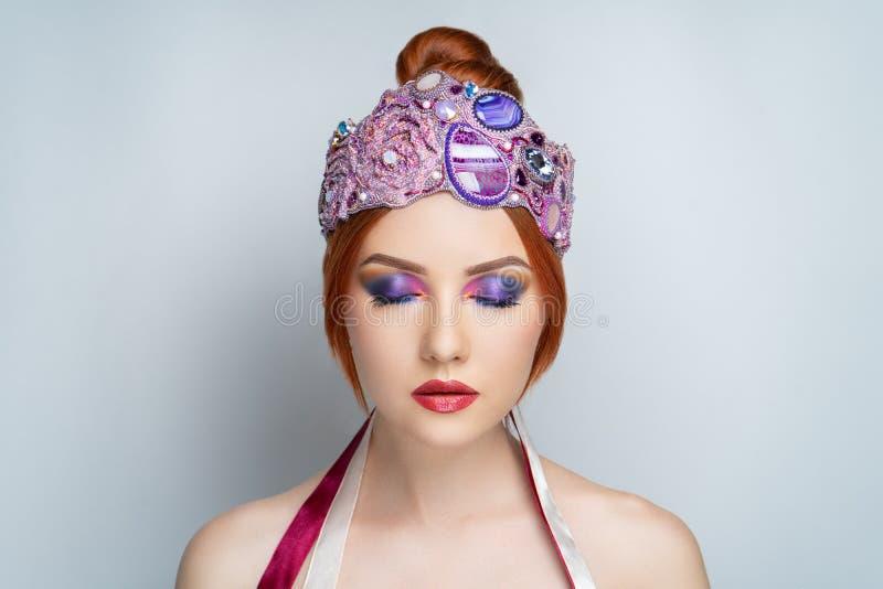 Woman big pink tiara stock photos