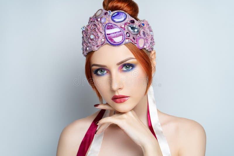 Woman big pink tiara royalty free stock photos