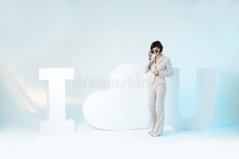 Download Woman And Big Sign I Love You Royalty Free Stock Photo - Image: 24478935