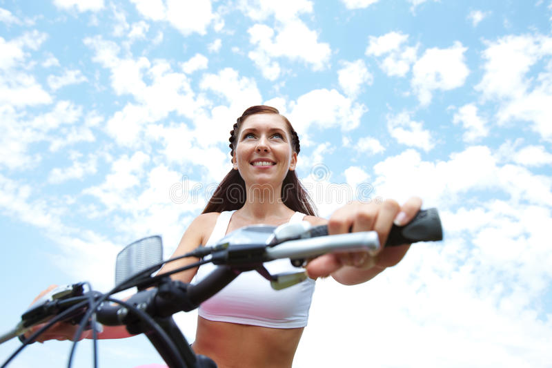 Download Woman on bike stock photo. Image of happy, cheerful, bicycle - 22852662