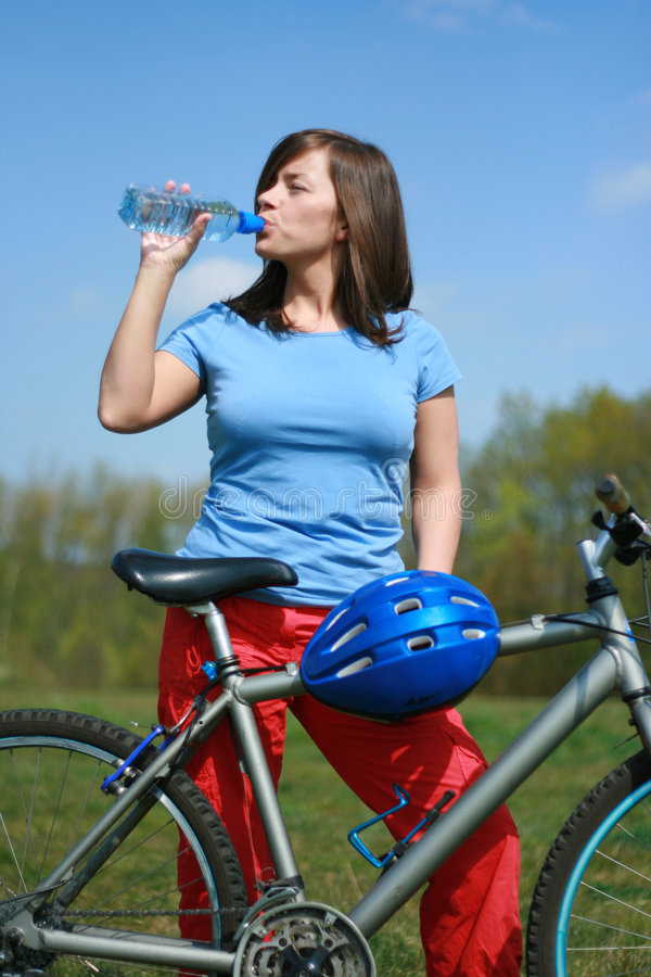 Download Woman and bike stock image. Image of break, girl, cheerful - 2321539