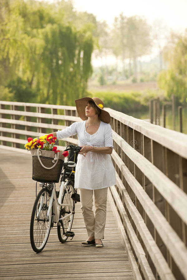 Download Woman with bike stock image. Image of rural, fine, caucasian - 25942865