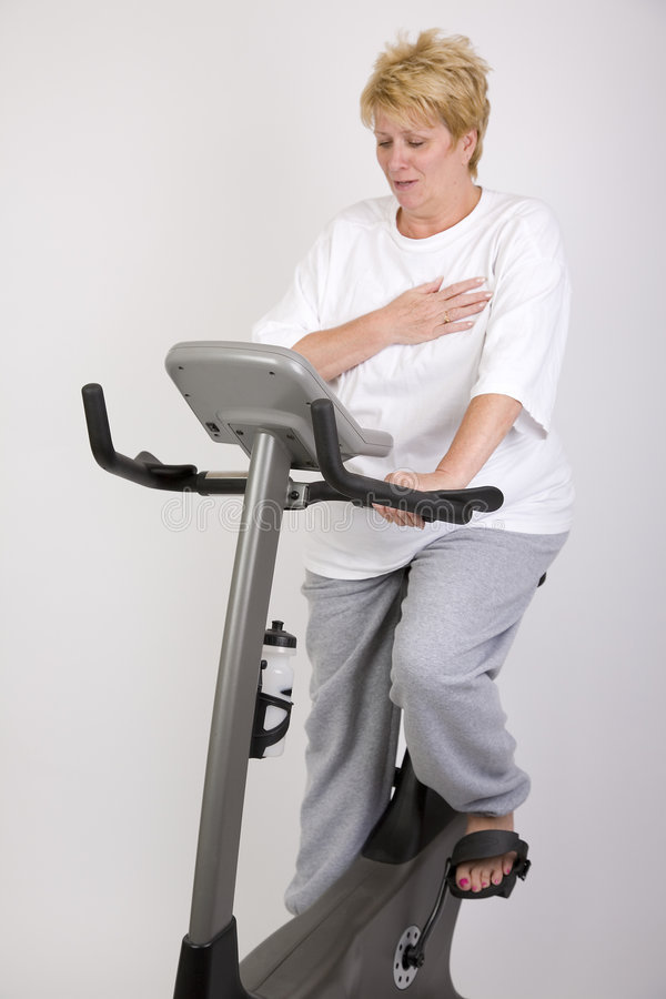 Download Woman on bike stock image. Image of obese, mature, exercise - 2698733