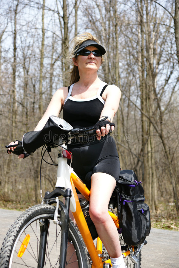 Download Woman and bike stock photo. Image of enjoyment, outdoors - 9130456