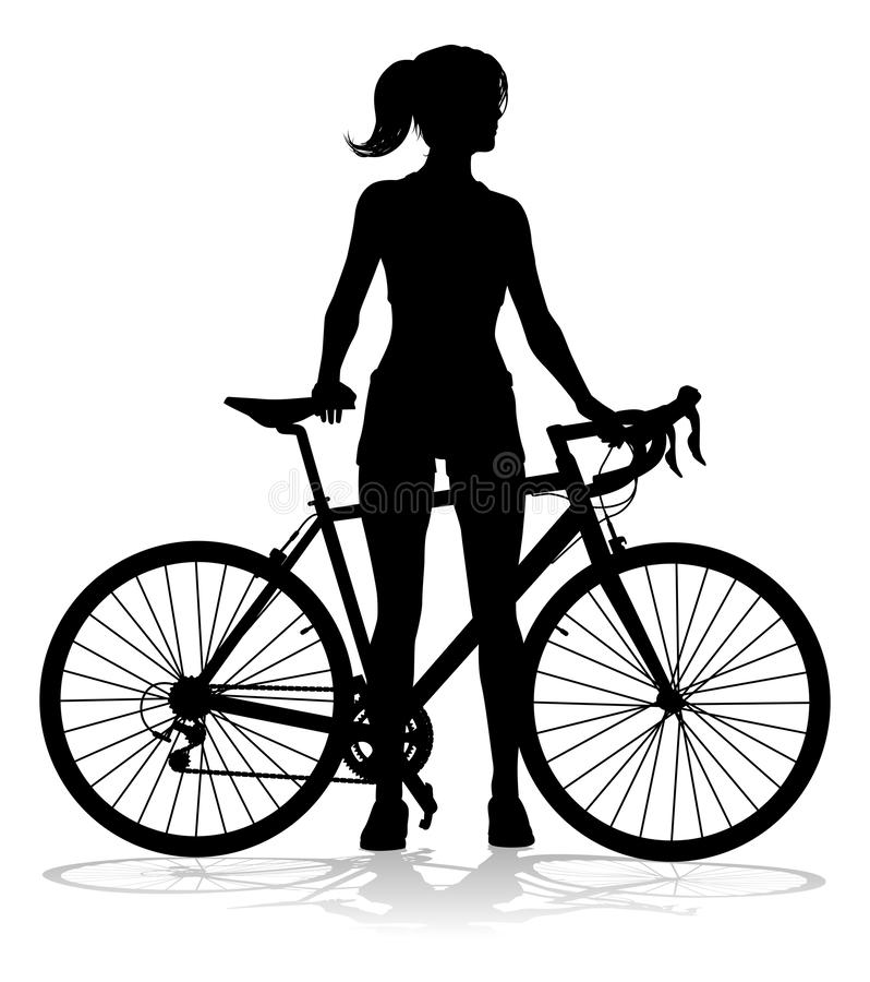 Free Woman Bike Cyclist Riding Bicycle Silhouette Stock Photography - 149601562
