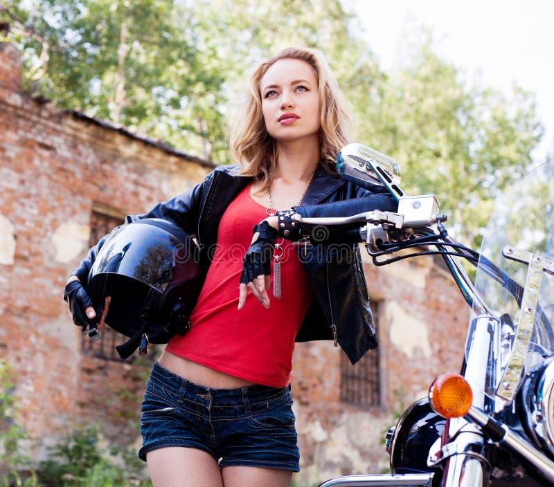 Woman Biker Stock Photo
