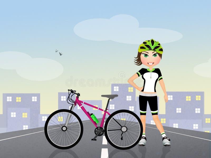 Woman biker. Funny illustration of woman biker royalty free illustration